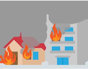 火災が起きた家